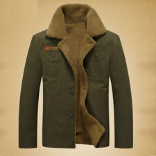 New Winter Bomber Jacket Mens Air Force Pilot Army Green Jacket fur collar M-4XL