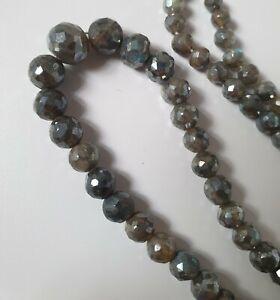 Full strand of Labradorite hand faceted graduated round beads gemstones