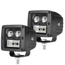 2x 3in 128W Flood LED Work Light Car Truck Boat Driving Fog Offroad SUV 4WD Bar
