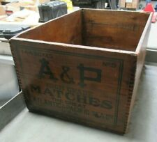 Antique A&P Matches Advertising Wood Box Crate Great Atlantic & Pacific Tea Co.