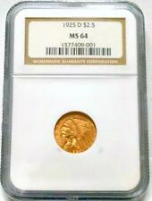 1925-D $2.5 GOLD INDIAN QUARTER EAGLE NGC MS64