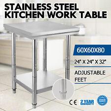 VEVOR mesa de trabajo Acero inoxidable tablero Kitchen Encimera 60x60x80cm