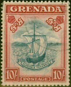 Grenada 1943 10s Slate-Blue & Brt Carmine SG163b P.14 Narrow V.F.U
