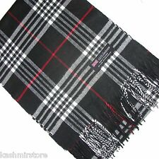 "100% Cashmere Scarf White Black Red Scotland Warm Wool Check Plaid Wrap ""A1"""