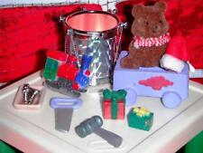 Little Tikes Dollhouse Table Chairs Santa's Workshop Green Red Toys Drums Nails