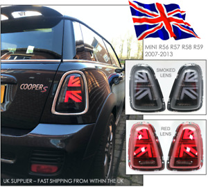 MINI R56 2007-2013 - Cooper S JCW LED Rear Lights - UK Flag Style RED or SMOKED