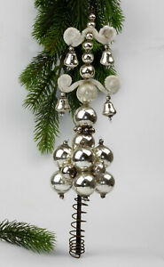 Antique Christmas ornament,Glass Tree Topper decorated with balls and bells.