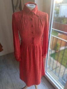 VINTAGE 60's RED SHIRT STYLE MOD  TEA DRESS UK 8/10 SMALL