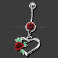 Body Piercing Rhinestone Rose Heart Dangle Navel Belly Button Bar Ring Beauty x1