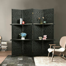 4 Panel Room Divider w/4 Display Shelves 5.9ft Folding Freestanding Screen BLACK