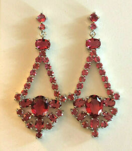 """Pink Sapphire Earrings Rhodium Plated Chandelier Statement Simulated 2.25"""" #2033"""