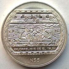 Mexico 1993 Bajo Relieve De El Tajin 5 Pesos Silver Coin,UNC