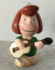Vintage Peppermint Patty Peanuts Christmas Ornament Ceramic Music Guitar Japan