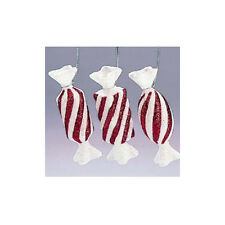3 Kurt Adler Candy Cane Carnival Red And White Glitter Candy Ornaments New