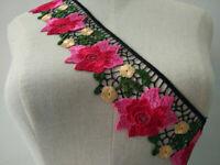 1Yard  Embroidered Flower Lace Trim Handmade Applique Ribbon Wedding Dress Decor