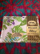 Vintage New Stevens Utica Full Flat Sheet Mod Retro Floral Fern Leaves Percale