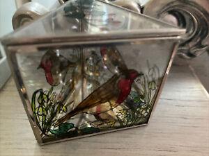 Stained Glass robin design jewellery Trinket box