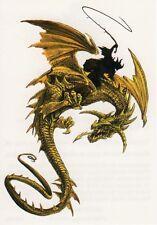Temporary Tattoo, Dragon Tattoo, AGD234 09-12, Grüner Drache mit Drachenreiter