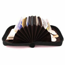 BLACK LEATHER WALLET ACCORDION FAN ID Window Coin Credit Card Holder Men Women