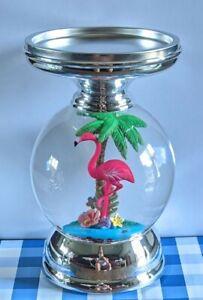 Bath & Body Works 3-Wick Candle Holder PINK FLAMINGO WATER GLOBE Pedestal