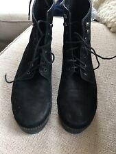 Jeffrey Campbell Black Suede Lace Up Combat Work Boots Women's Size 9.5 Sakura