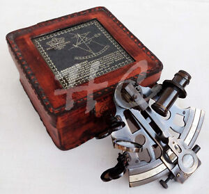Sextant Antique Marine Maritime Victorian Traveling With Glass Top Leather Case
