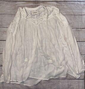 Denim & Supply Ralph Lauren Boho Ivory Ruffle Long Sleeve Top Shirt Womens Small
