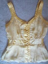 WOMENS FOREVER 21 YELLOW BUTTON UP LACE FLOWY SILK TANK TOP KNIT TOP MEDIUM