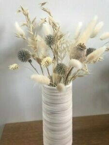 22.5cm Rustic Natural Ribbed Ceramic Vase, Stoneware Flower Vase Home Decor Gift