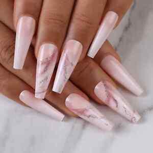 Nude natural nails, long coffin nails, false ombre nails, glitter marble nails