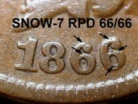 1866 Indian Head Cent - SNOW-7 BOLD REPUNCHED DATE 66/66  (K698)