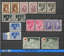 Belgium Stamps: 1939: COB 496-503; Complete Set