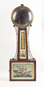American weight driven banjo clock inlaid case only @ early 1800s Good Project