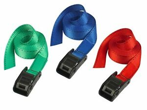 Master Lock Lashing Straps with Metal Buckle Coloured 2.5m 2 Piece