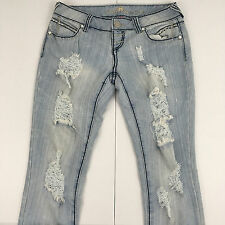 Almost Famous Womens Sz 9 Button Fly Slim Low Rise Jeans Distressed Bottoms