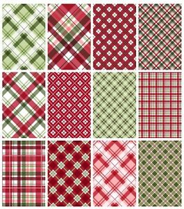 CHRISTMAS PLAID/TARTAN  BACKING CARD/PAPERS - 4/12 x A4 Sheets- 160gsm