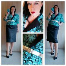Chic 1980s green and black power dress sz 12 14 Medium