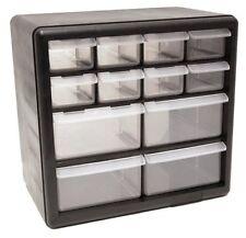 Storage Organizer Cabinet 12 Plastic Drawer Boxes Parts Container Garage Bin Toy