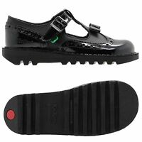 Kickers Women's Leather T Bar Brogues Shoes UK Sizes 4-7 Black