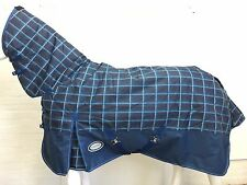 AXIOM 1200D R/S DARK BLUE CHECK/NAVY 300gm PADDOCK COMBO HORSE RUG - 5' 6