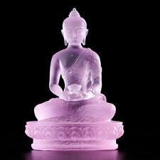 "4"" Tibet Buddhism purple liuli glaze Glass handmade Amitabha Buddha statue"