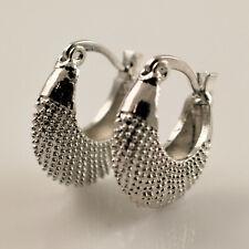 925 Sterling Silver Pltd Pattern Handbag Basket Creole Huggie Hoop Earrings UK