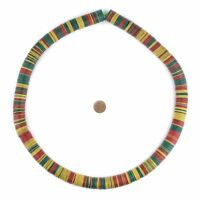 Red, Yellow & Green Vintage Vinyl Phono Record Beads 18mm Ghana African Disk