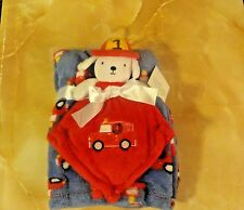NWT 2 pc super soft~PLUSH Puppy FIREMEN Red Blue~ Baby's~BABY BLANKET Fire Truck