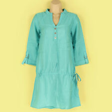 NEW GORGEOUS TURQUOISE COLOUR SLINKY TUNIC DRESS/ BEACH COVER UP SIZE 12 LOOK