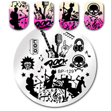 BORN PRETTY Nail Art Stamp Image Plate Template Rock Music Theme Manicure BP-129