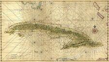 Cuba 1639 Old Map Caribbean Ocean Maritime Chart - 14x24
