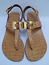 TORY BURCH tan croc leather gold logo detail thong sandals size 7.5 WORN ONCE