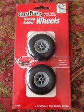 "Great Planes Treaded Rubber Wheels 2-1/4"" 57MM GPMQ4222 Low Bounce New Package"