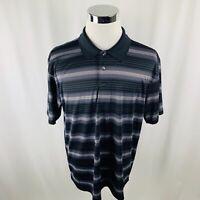 Ben Hogan Performance Black Gray Striped Golf Polo Shirt Mens XL X-Large